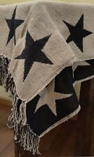 """BLACK STAR WOVEN THROW 60""""x50"""" BLACKS AND TANS WITH TASSELS"""