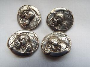 """4 Art Nouveau silver plated Armand Bargas """"Nuit"""" buttons."""