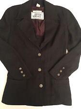 Auth VTG Gianni Versace 100% Cotton Black Linen Jacket With Buttons IT Sz 42 US6