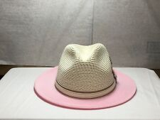 With Tag Men's Stacy Adams Sa44 Fedora Straw Hat M Pink