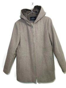 London Fog Duffle Coat Jacket Grey Wool Blend Hooded Zip Size Large Fits UK 16