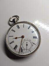 Antique solid silver gents Waltham mass pocket watch 1883 working
