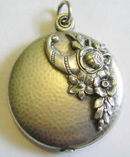 Antique Art Nouveau French Silver Repousse Cornucopia Flower Locket Pendant