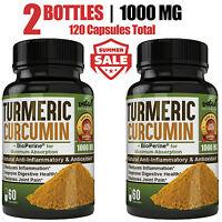 Turmeric Curcumin Root + Bioperine, MAX 1000mg | 95% Curcuminoids | 120 Capsules