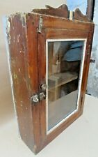 Vintage Wood Cabinet shabby Chic Curio Display Single Glass Door Original
