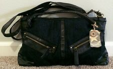 Converse One Star Navy/Black Jeans & Faux Leather Top Handle Messenger Bag NWT