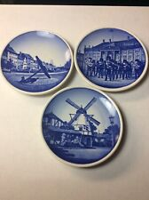 Lot Of 3 Mini Blue Delft Souvenir Wall Plate Made In Denmark ~ Beehive Mark