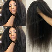 Lace Front Wigs Glueless Yaki Kinky Straight Indian Virgin Human Hair Wig Black