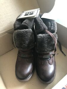 FRYE VERA HIKER Brown Leather Shearling Lined Lace Up Boots NIB $398 Sz 8 RARE!