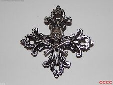 steampunk brooch badge gothic cross silver skull crossbones pirate Black sails