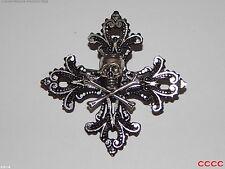 steampunk brooch badge gothic cross silver skull crossbones pirate Black sails