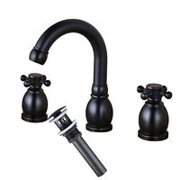 Bathroom Widespread Basin Faucet 3 Holes Vanity Mixer Tap with Oil Rubbed Bronze
