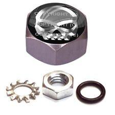 Grey Hex Billet - Custom Horn Cover Mounting Nut Kit For Harley - Silver Skull