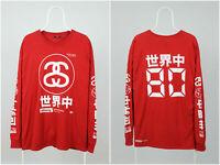 Mens Stussy Long Sleeve T-Shirt Crew Neck Big Logo Red Cotton Size L
