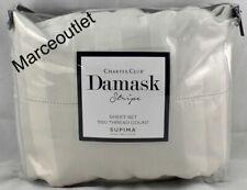 Charter Club Damask Stripe 550 Thread Count Queen Extra Deep Sheet Set Parchment