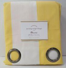 "Pottery Barn Sunbrella Awning Stripe Grommet Drape 50x 108"" Buttercup #8724S"