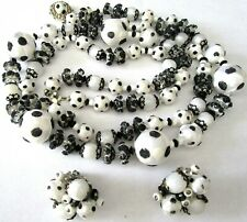 ALICE CAVINESS Black & White Polka Dot Bead Necklace Earring Set