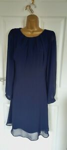 """Dorothy Perkins Size UK-18 lined Chiffon fit & flare dress in Navy Bust 42"""""""