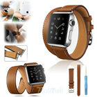 Genuine Leather Watch Band Double Tour Bracelet Strap For iWatch 38mm/42mm