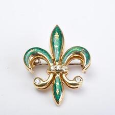 Fabergé Broche, FLOR DE LIS, 18 KARAT ORO ESMALTE Y BRILLANTES VICTOR MAYER