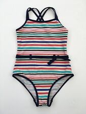 Girls M&S Navy Blue Pink Cream Stripe Swimsuit Swimming Costume Age 11 - 12