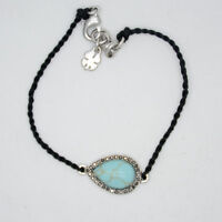 lucky brand jewelry black rope chain silver tone turquoise bracelet for women