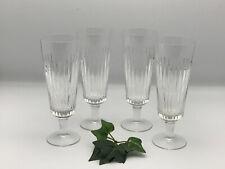 4 ältere Kristall Sektgläser mit Schliffdekor-50er Jahre
