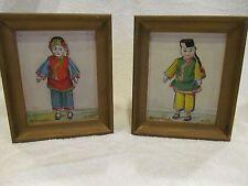 Antique Still Life China Doll Paintings pair Signed V C Hoyt b.1880 Framed