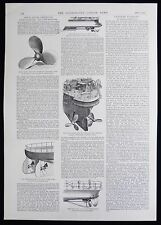 STEAM SHIP NAVIGATION SCREW PROPELLER ROYAL NAVY VICTORIAN ARTICLE / PRINT 1891