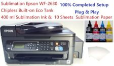 Sublimation Epson WF-2630 Chipless Built-on Eco Tank 400 ml Ink & 10 Paper New !