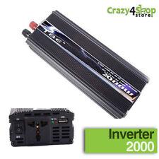 INVERTER 2000W WATT 12V 220V TRASFORMATORE AUTO CAMPEGGI BARCA CAMPER PRESA USB