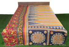 Cotton Reversible Bedspread Throw Indian Handmade Vintage Bohemian Quilt Blanket