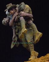 1/24 75mm 2Pcs Injured Soldiers Garage Kits Unassembled Figure Model Unpainted