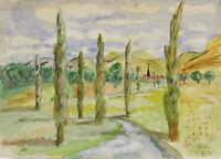 """ Landschaftsansicht  Toscana 1933 ""Aquarell. Monogr.sign.O.H. 17.8.33"