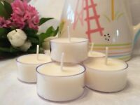 12 Soy Wax Tealights Unscented 100% Natural soy 7-8 hour clean burn