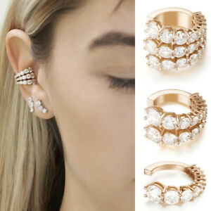 C Style Ear Ring Crystal Circle Cuff Earrings Women Ear Clip No Piercing Jewelry