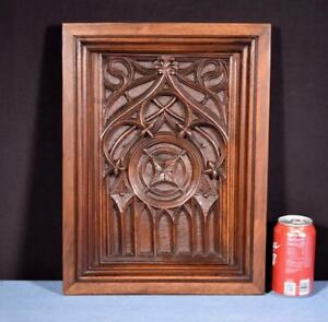 *French Antique Gothic Deep Carved Architectural Panel/Door Walnut Wood Salvage