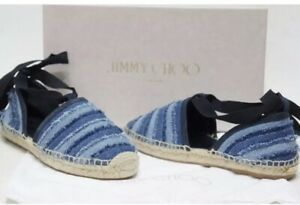 JIMMY CHOO Shoes Dolphin Flat Espadrille  Light Indigo Size 7 / 37 NIB