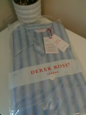 BNWT Derek Rose Pyjamas Blue White Stripe 100% Cotton Pyjama Set size M