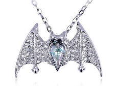 Crystal Rhinestone Encrusted Happy Lovely Bat Wing Small Long Pendant Necklace