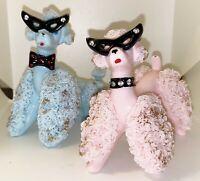 Vintage Spaghetti Poodle w Cat Eye Glasses Lefton Boy & Girl Pink & Blue Ceramic