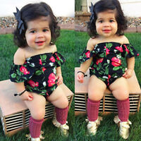 Infant Baby Girl Off-shoulder Floral Jumpsuit Romper Bodysuit Outfit Clothes Set