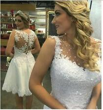 Short Sequins Beaded Lace Beach Wedding Dresses Bridal Gowns Sheer White 2018
