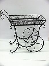 FRENCH provincial PLANTER black TROLLEY flower cart cottage outdoor New