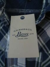 Bass Size M Blue Plaid Button Front Long Sleeve Shirt Retail $80 100% Cotton