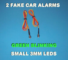 FAKE CAR ALARM LED LIGHT ~ 3mm ~ CHROME  GREEN FLASHING 12v 24v BLINK FLASH