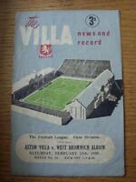25/02/1950 Aston Villa v West Bromwich Albion  (folded, creased)