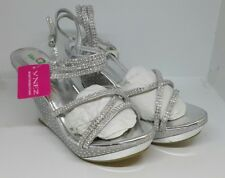 Chic Feet Womens Silver Sequin Hidden Platform Heels Open Toe Shoes UK 7 EU 40