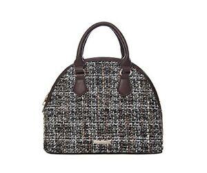 71396 Brown tweed bowling bag, Zipped Top, 27.5 x 21.5 x 12cm