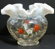 VINTAGE FENTON STRAWBERRIES FRENCH OPALESCENT RUFFLED BASKET WEAVE ROSE BOWL